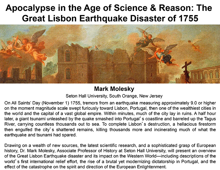 Plenary: APOCALYPSE IN THE AGE OF SCIENCE & REASON: THE GREAT LISBON EARTHQUAKE DISASTER OF 1755
